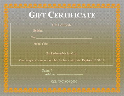 Gift Certificate Letter Template Gift Certificate Templates Free Word S Templates