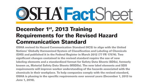 osha publishes training fact sheet for hazcom 2012 and ghs
