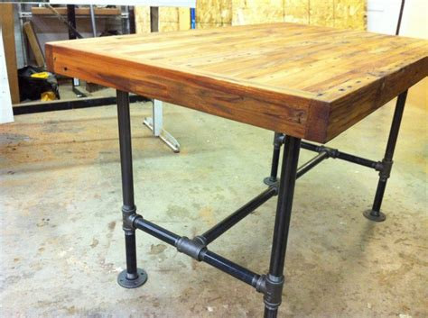 Industrial Kitchen Table Furniture Reclaimed Industrial Kitchen Island Dining Table Featuring Antique Barnwood Butcher Block And