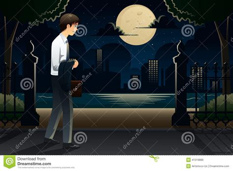 businessman coming home late from work stock vector