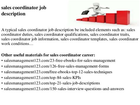 sales coordinator description