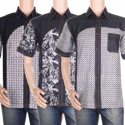 Kemeja Pria Lengan Pendek Hitam Combi List Hem C Grosir atasan hem kemeja pria motif batik kombinasi hitam