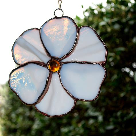 flower pattern glass white flower stained glass suncatcher by ahouseofshards on