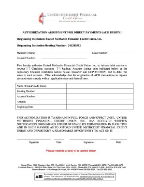Ach Agreement For Loan Payments United Methodist Financial Fill Online Printable Fillable Ach Agreement Template