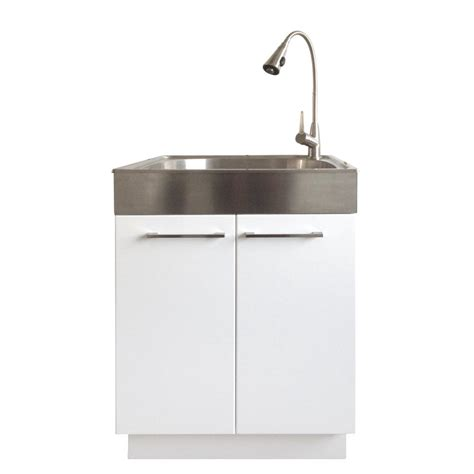 Presenza All in One 24.2 in. x 21.3 in. x 33.8 in. Stainless Steel Laundry Sink and White 2 Door