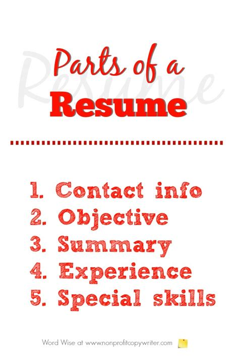 Parts Of Resume by Parts Of A Resume A Primer