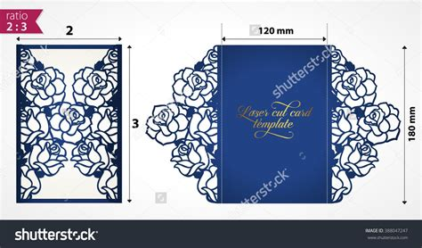 Card Die Cut Template by Laser Cut Wedding Invitation Template With Roses Vector