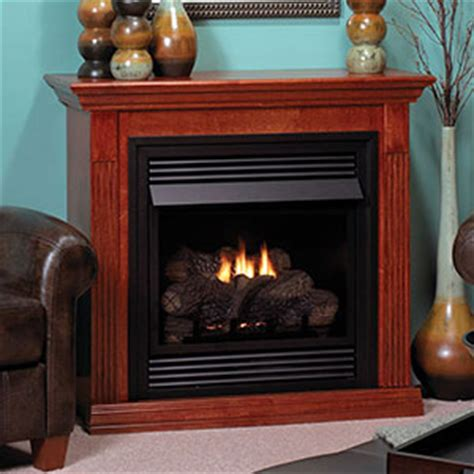 vail 26 inch cherry vent free gas fireplace mantel package
