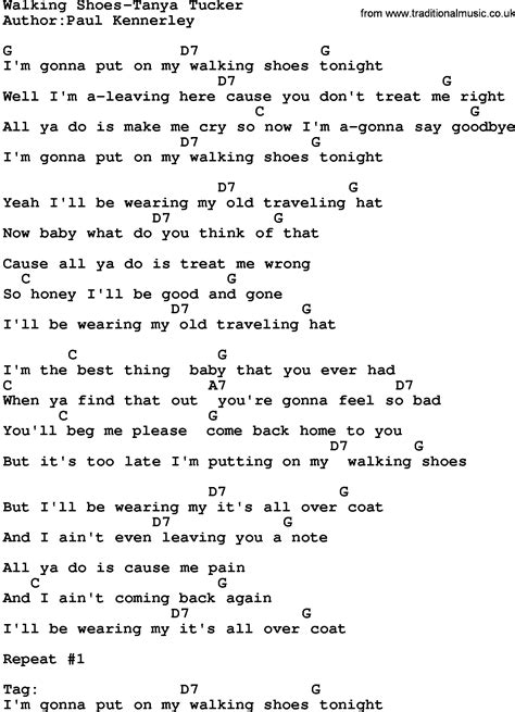 country walking shoes tucker lyrics and chords