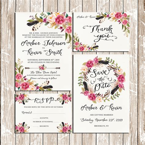 rustic printable wedding invitation kits flowers and feathers bohemian floral wreath wedding