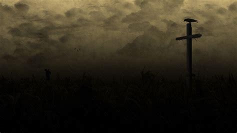 wallpaper dark cross horror creepy cross dark raven country field wallpaper