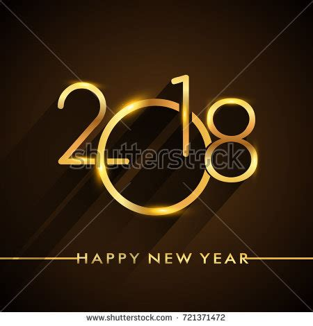 special symbols new year new year 2018 golden colored text stock vector 721371478