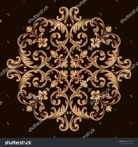 gold vintage design elements vector gold vintage baroque ornament retro pattern stock vector