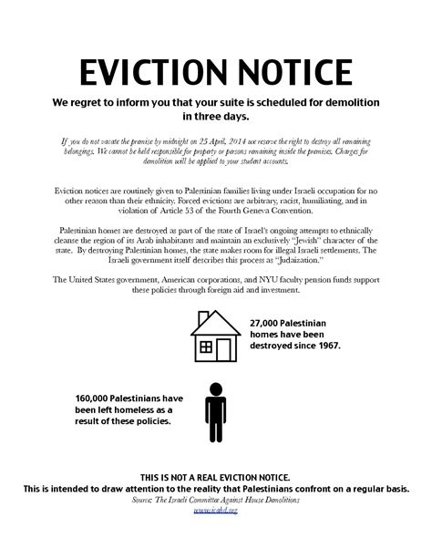 College Notice Letter Statement Regarding Nyu Sjp S Mock Eviction Notice Nyu Eviction Notice Letter