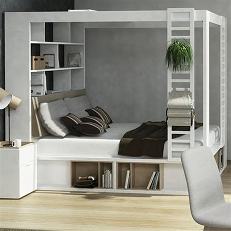 canopy bed with storage 4you 4 poster double bed with storage shelves in white