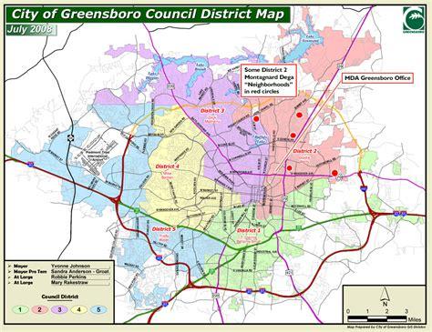 map of nc and surrounding area city council representation and dega neighborhoods