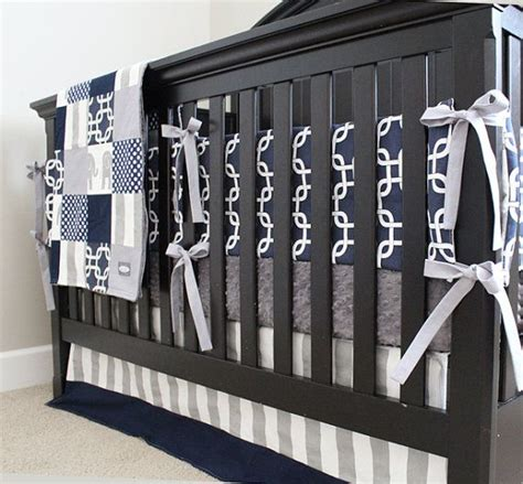 Blue And Gray Crib Bedding Sets Navy Blue Gray Boy Nursery Bedding Crib Set Modern Geometric Bumper Pad Minky Crib Sheet
