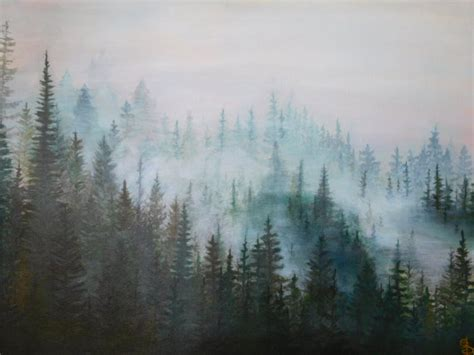 misty pines painting original forest painting pine tree