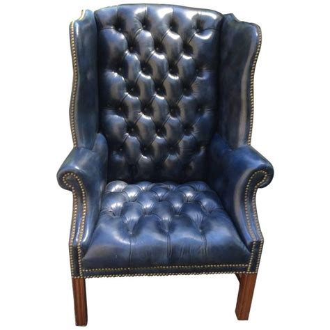 fabulous navy blue leather tufted wing chair decadent decor leather wingback chair wing