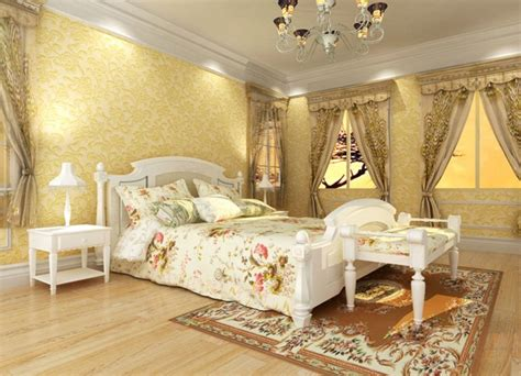 pale yellow walls white furniture bedroom 3d house free