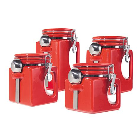 ebay kitchen canisters oggi ez grip 4 piece set red ceramic airtight canister jar spoon pantry kitchen ebay