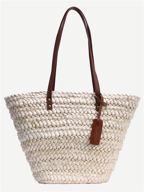 contrast handle straw tote bag white shein sheinside