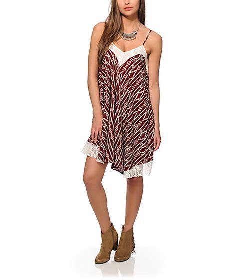 Bt11859 Maroon Tribal Chika Dress kabri burgundy tribal dress zumiez