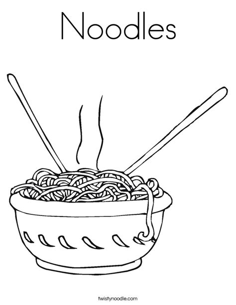 noodles coloring page twisty noodle