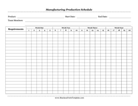 production order form template manufacturing production schedule template