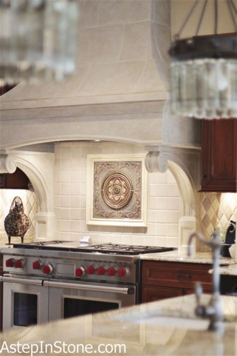 kitchen backsplash with a medallion as the focal point