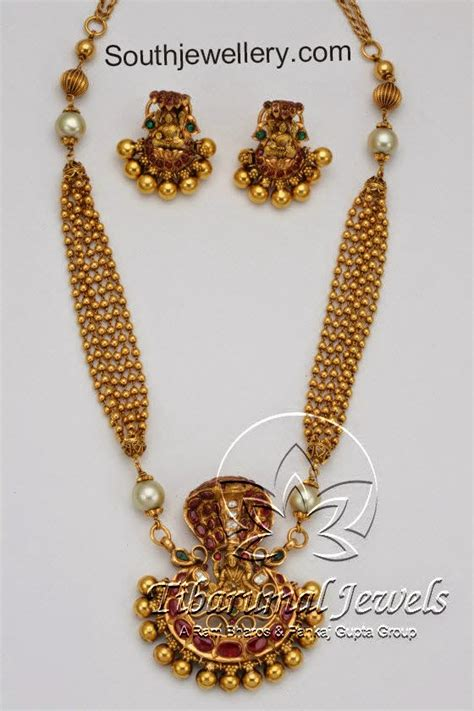 gold necklace with nagaram pendant jewellery designs