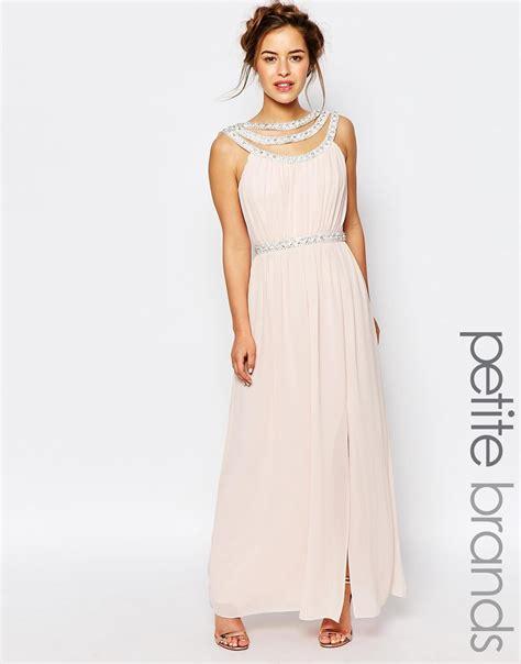 dressy maxi dresses wedding tfnc wedding embellished maxi dress in pink lyst