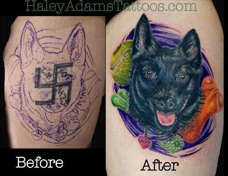 animal cover up tattoo back