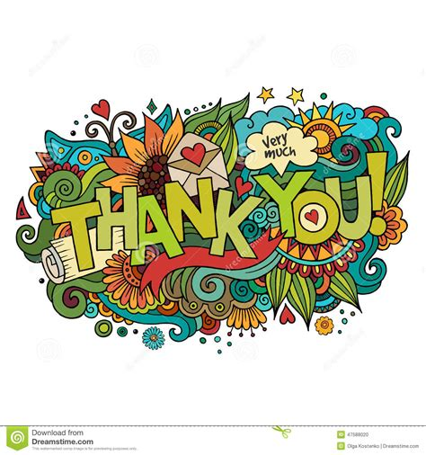 doodle thanks thank you lettering and doodles elements stock vector