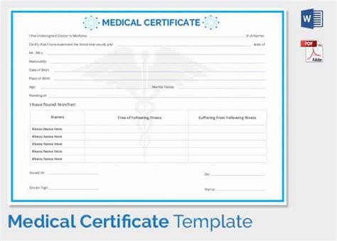 medical certificate template 33 free word pdf
