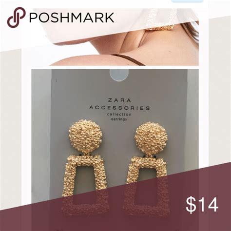 zara earrings gold metallic rectanglesquare earrings
