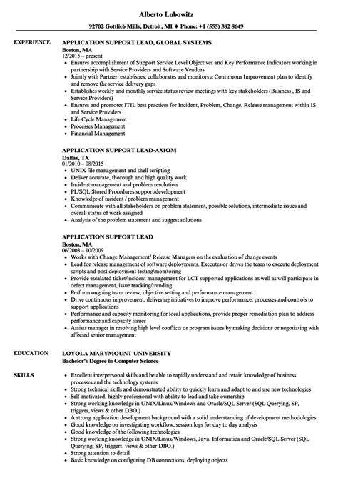 application support lead resume sles velvet
