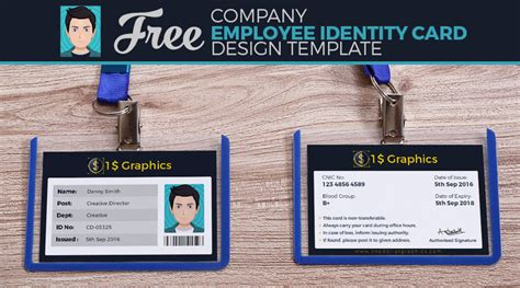 employee id card design template psd free company employee identity card design template one