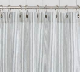 Vertical Striped Shower Curtains - pottery barn blue vintage ticking stripe shower curtain sold out ebay