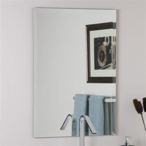 Frameless Beveled Mirrors For Bathroom Shop Decor 23 6 In X 31 5 In Rectangular Frameless Bathroom Mirror At Lowes