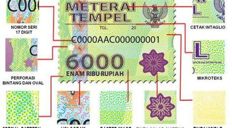 Rp 85 000 Materai 6000 gambar dan spek lengkap meterai tempel baru 6000 dan 3000