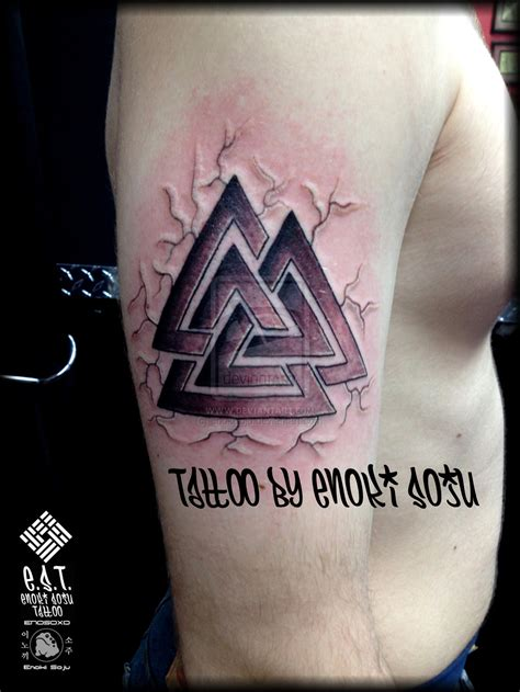 valknut tattoo meaning valknut viking symbol tattoo by enoki soju by enokisoju on