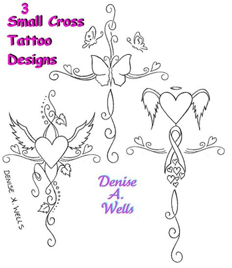 small girly cross tattoo designs by denise a wells