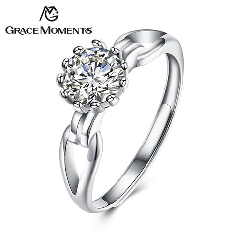 grace moments authentic 925 sterling silver sparkling blooming flower finger rings for women