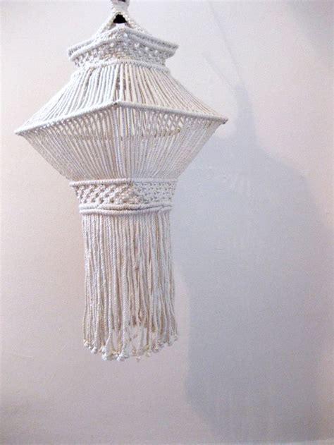 Hanging Macrame - vintage 1970s hanging macrame pendant l shades
