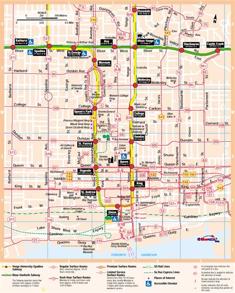printable map toronto downtown ttc system maps transit toronto content