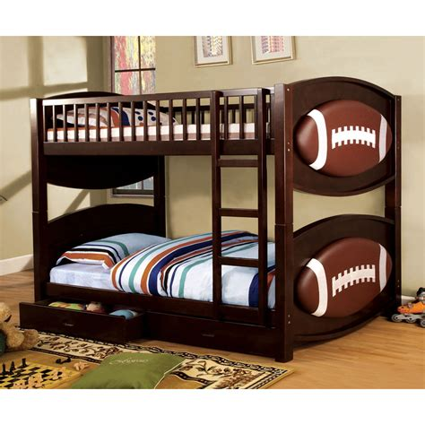 Theme Bunk Beds Shop Furniture Of America Olympic Walnut Football Theme Bunk Bed At Lowes