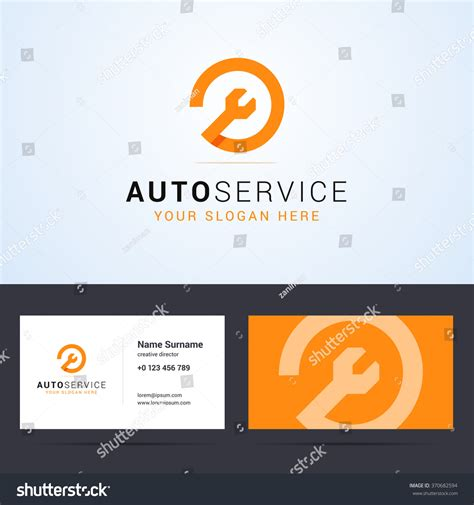 wrench business card template logo business card template layout auto stock vector