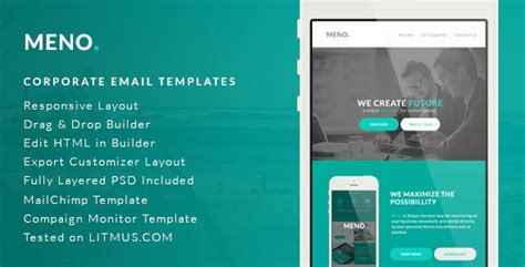 Corporate Email Template Meno By Micromove Graphicriver Html Email Template Builder