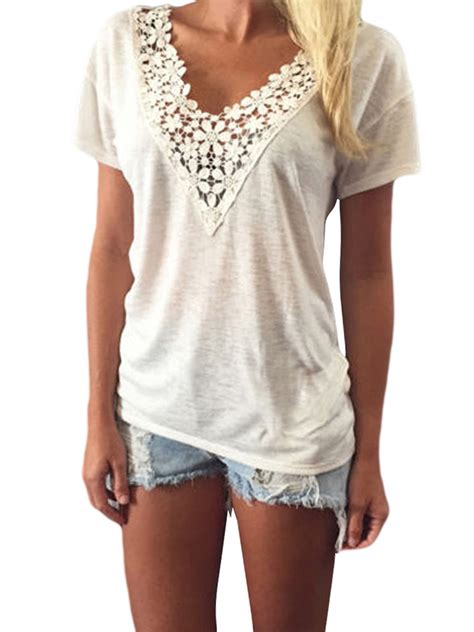 sleeve crochet t shirt white lace crochet stitching v neck sleeve